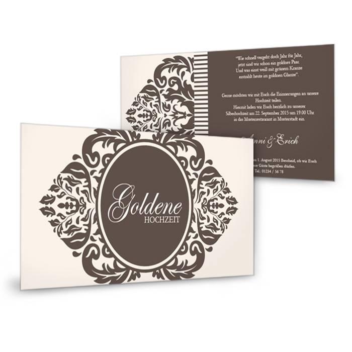 Einladungskarte zur Goldenen Hochzeit mit barockem Ornament