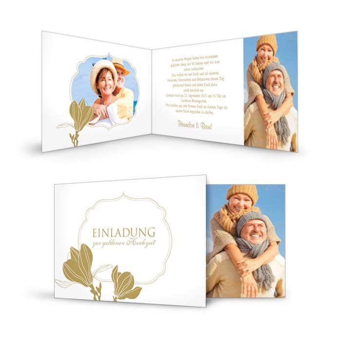 Elegante Einladungskarte zur Goldenen Hochzeit mit Blumen in Gold