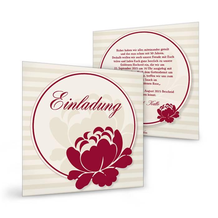 Gestreifte Einladungskarte zur Goldenen Hochzeit mit roten Blumen