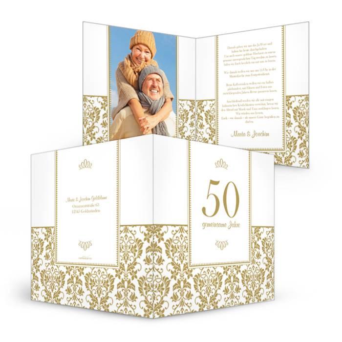 Elegante Einladung zur Goldhochzeit mit barocken Elementen