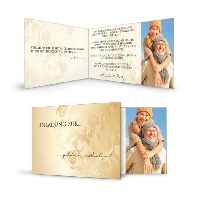 Einladungskarte zur Goldenen Hochzeit in Gold und Creme mit Foto