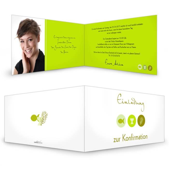 Einladung zur Konfirmation mit christlichen Symbolen in Grün