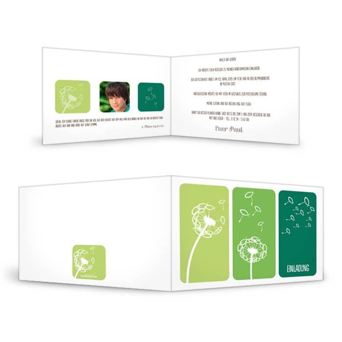 Einladungskarte zur Konfirmation mit Pusteblumen in Grün