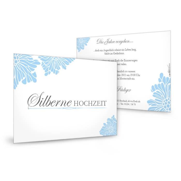 Schlichte Einladung zur Silberhochzeit in Weiß und Hellblau