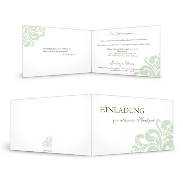 Einladung zur Silberhochzeit in Weiß mit Ornament in Grün