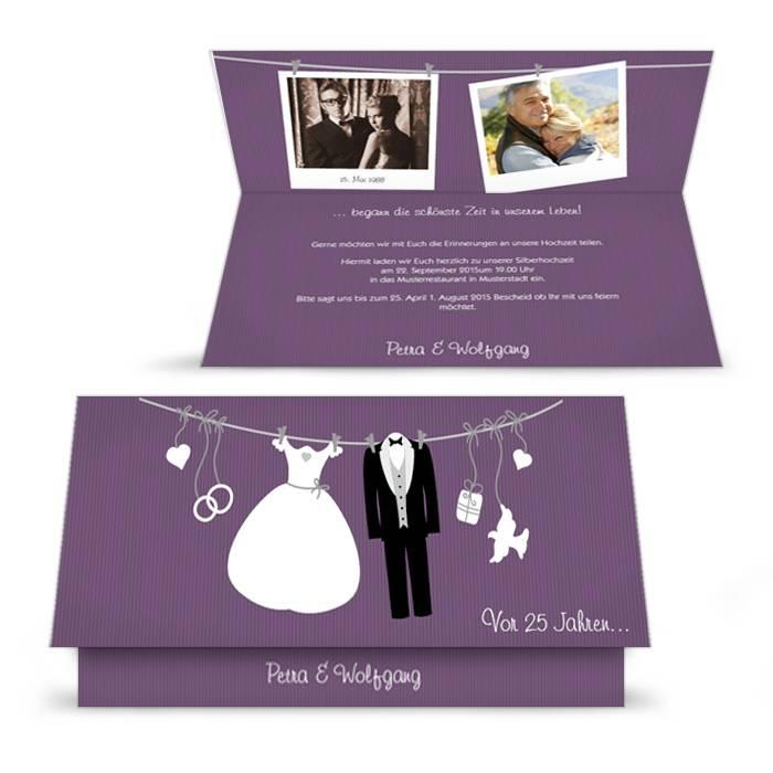 Witzige Einladung zur Silberhochzeit in Lila und Polaroid-Design