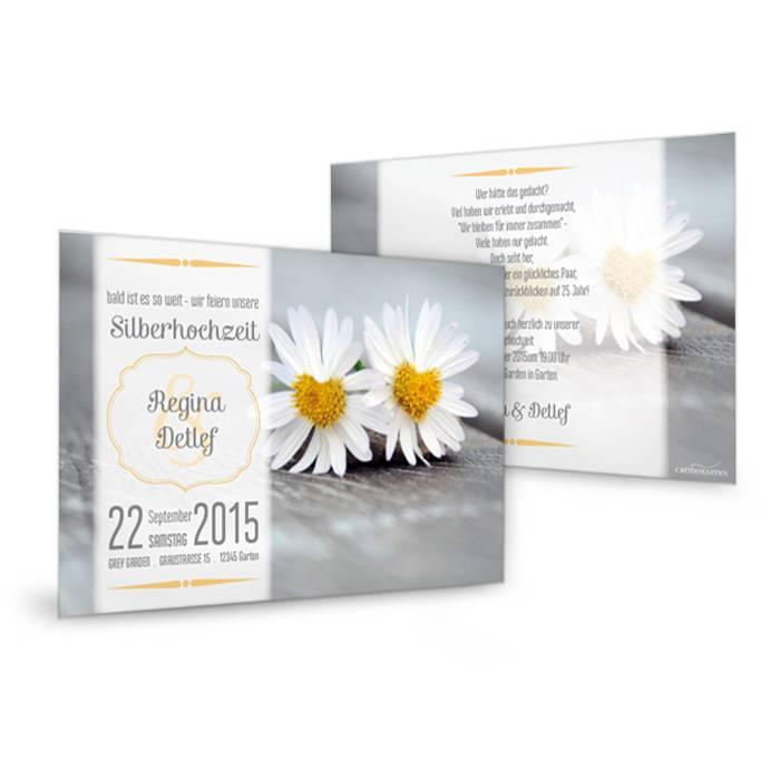 Einladung zur Silberhochzeit mit Margeriten selbst gestalten