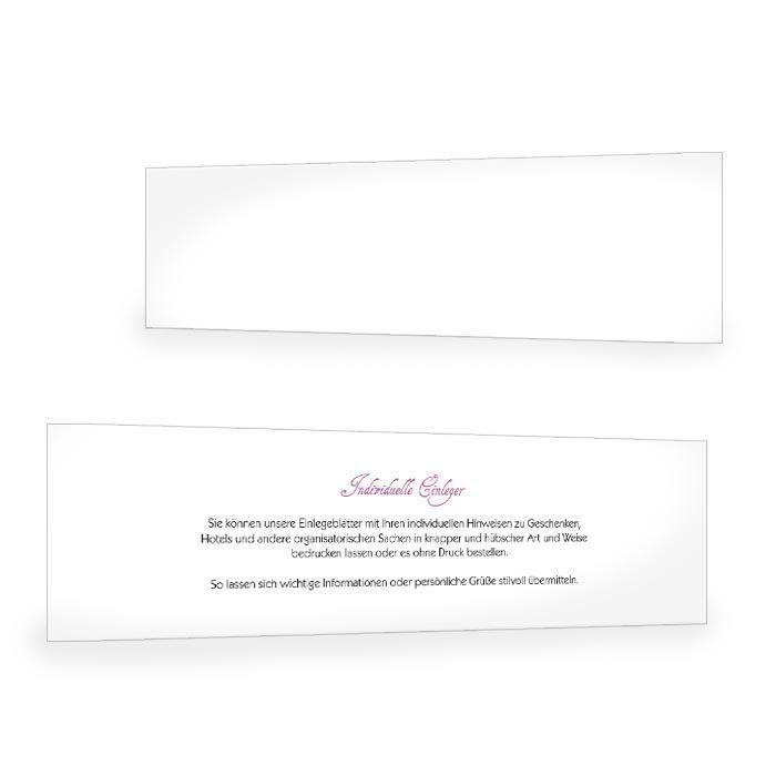 Einleger für Hochzeitseinladungen im Format 30 x 10,5 cm