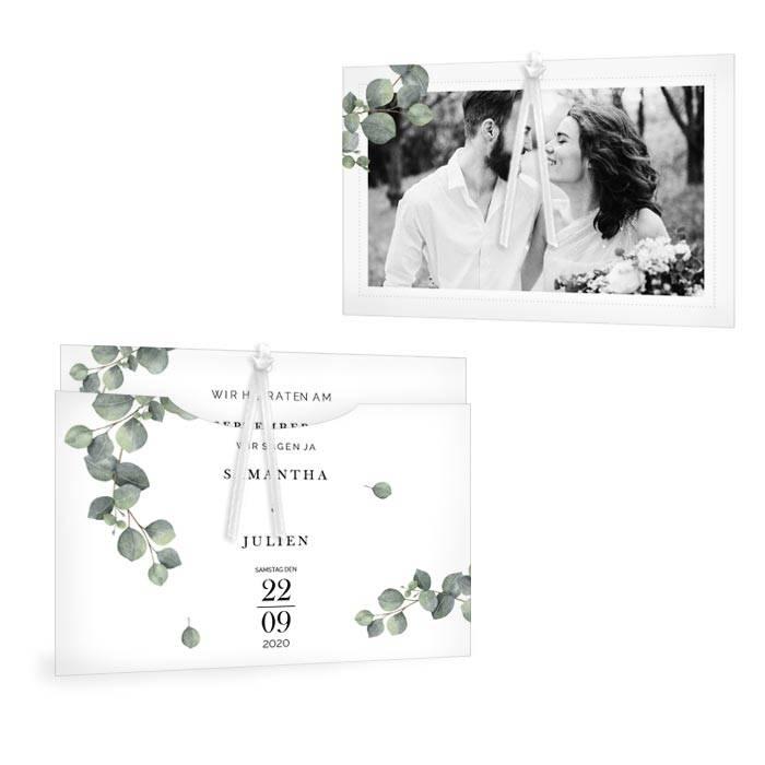 Greenery Hochzeitseinladung als Einsteckkarte mit Eukalyptus