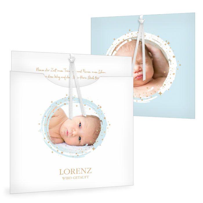 Einsteckkarte mit blauem Sternenkreis zur Taufe