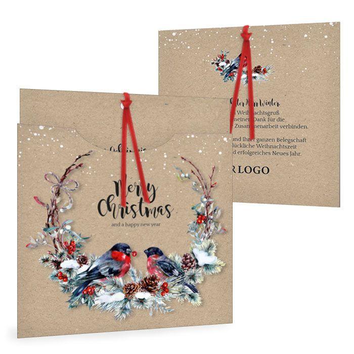 Einsteckkarte zu Weihnachten mit Tannenkranz und Vogel