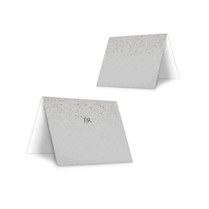 20 Tischkarten Hochzeit silber-grau