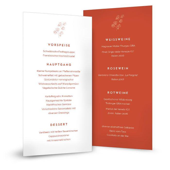 Elegante und moderne Menükarte für die Hochzeitstafel in Terrakotta