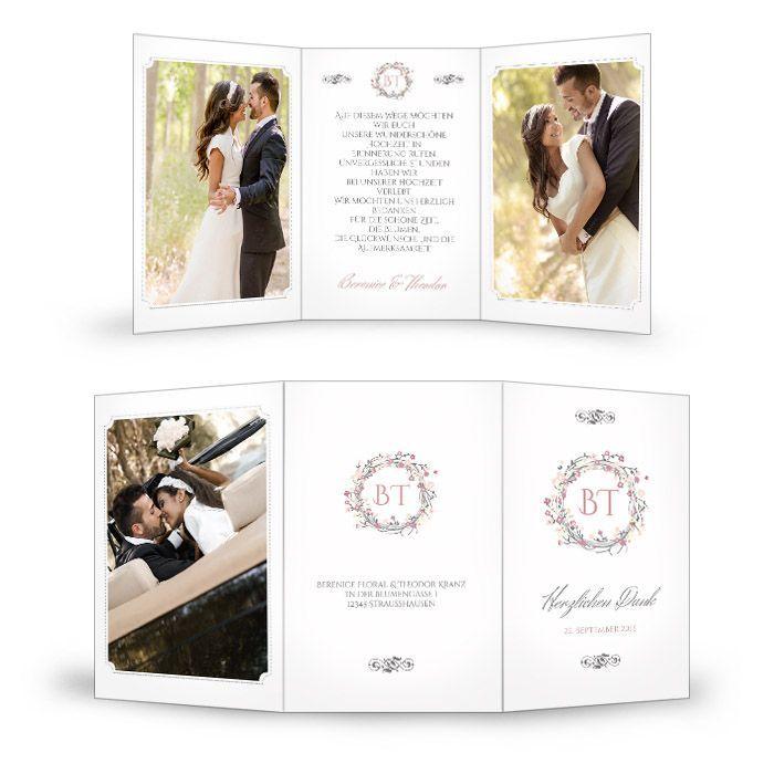 Hochzeitsdanksagung mit Blumenkranz in Rosa und großen Fotos
