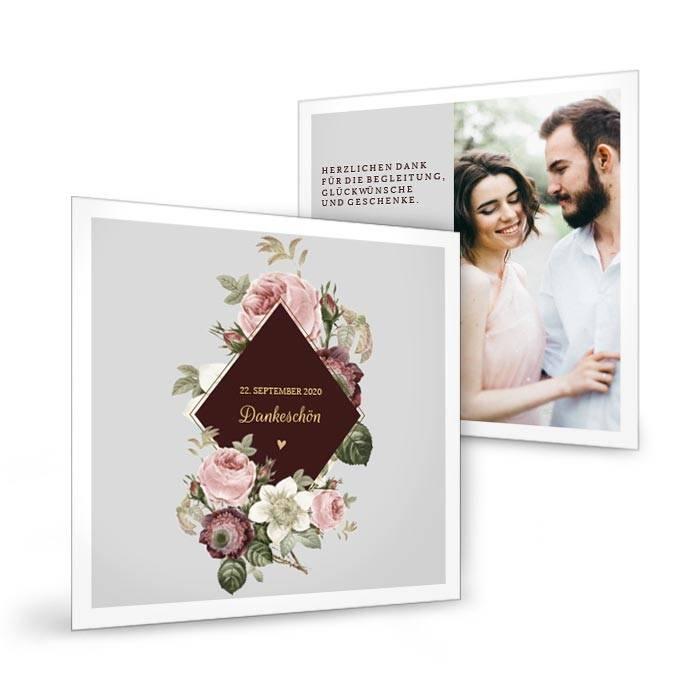 Elegante Hochzeitsdanksagung mit Rosen