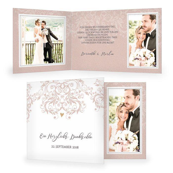 Elegante Danksagung zur Hochzeit mit Ornamenten in Rosa