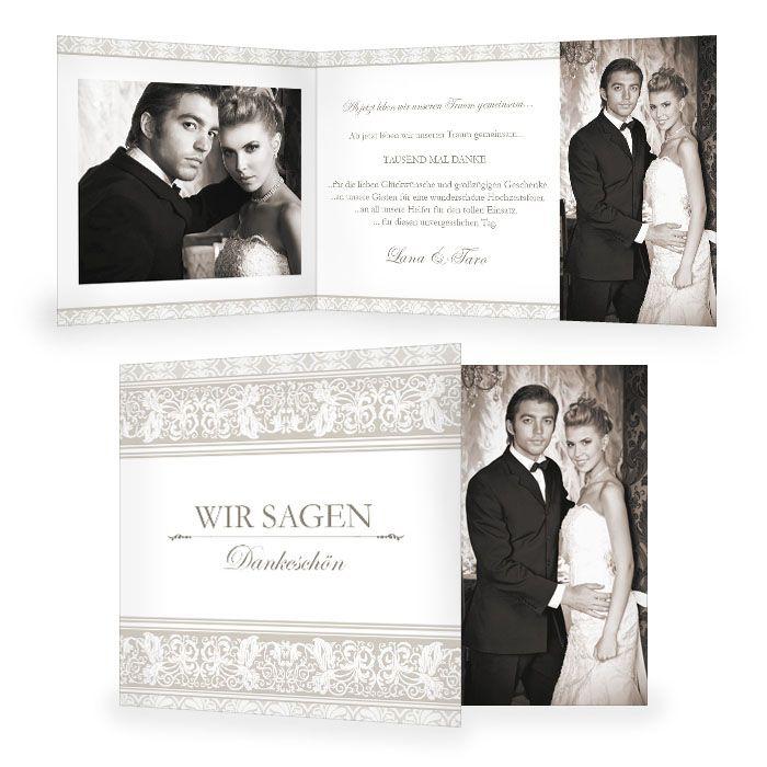 Elegante Danksagung zur Hochzeit mit barocken Elementen