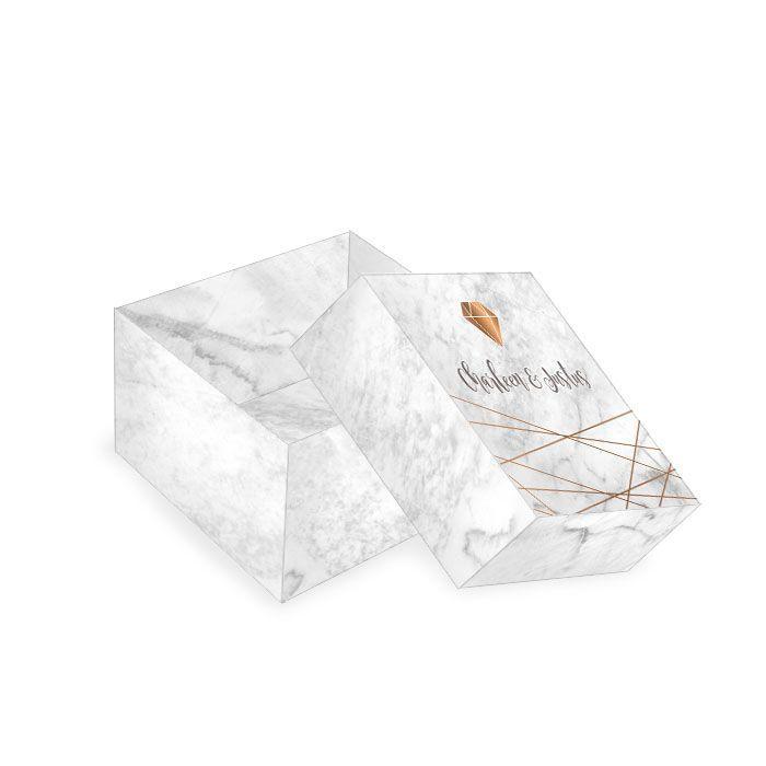 Kleine Geschenkbox zur Hochzeit in Marmoroptik mit Diamant
