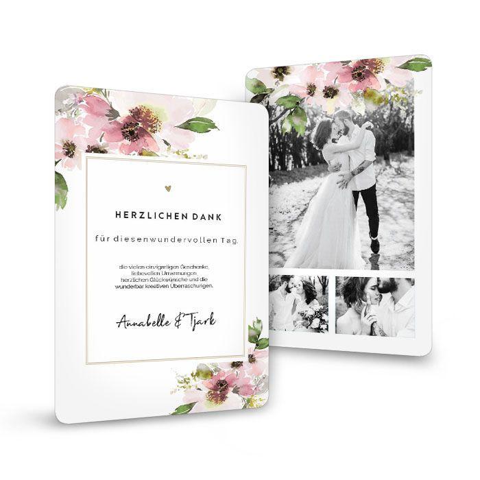 Elegante Hochzeitsdanksagung im Aquarelldesign in Rosa