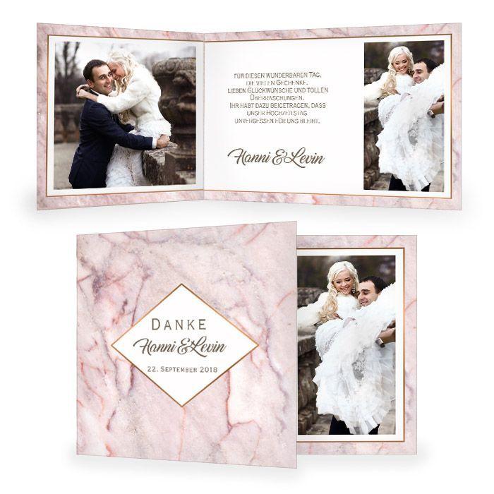 Elegante Danksagung zur Hochzeit in rosa Marmor Optik