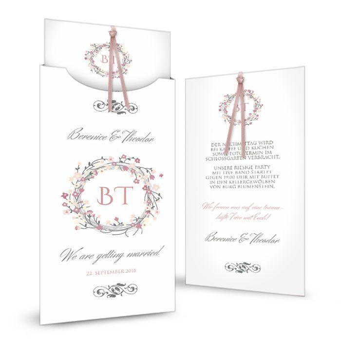 Hochzeitseinladung als Einsteckkarte mit Blütenkranz in Rosa