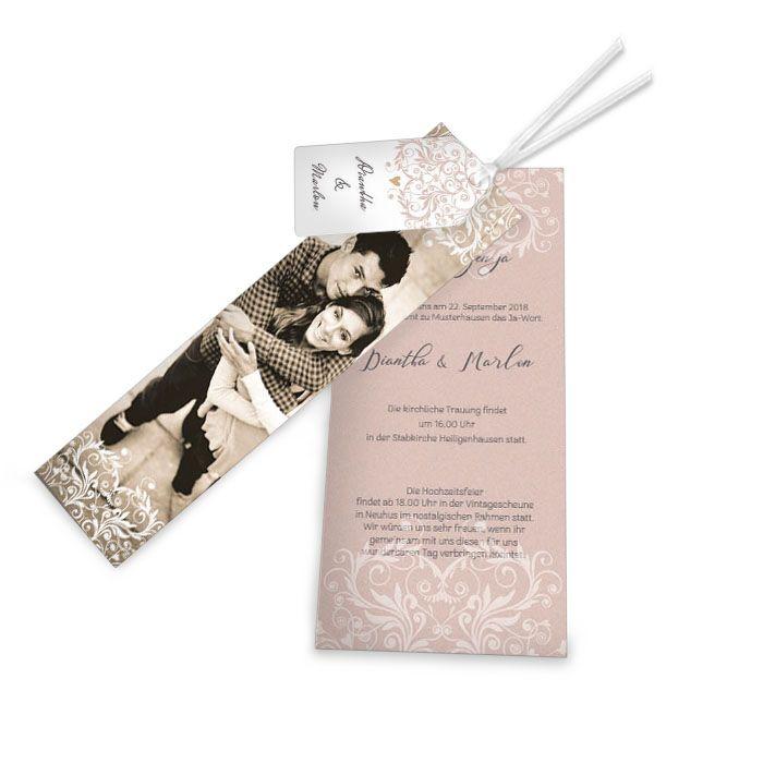 Edle Hochzeitseinladung mit Fotostreifen und rosa Ornamenten