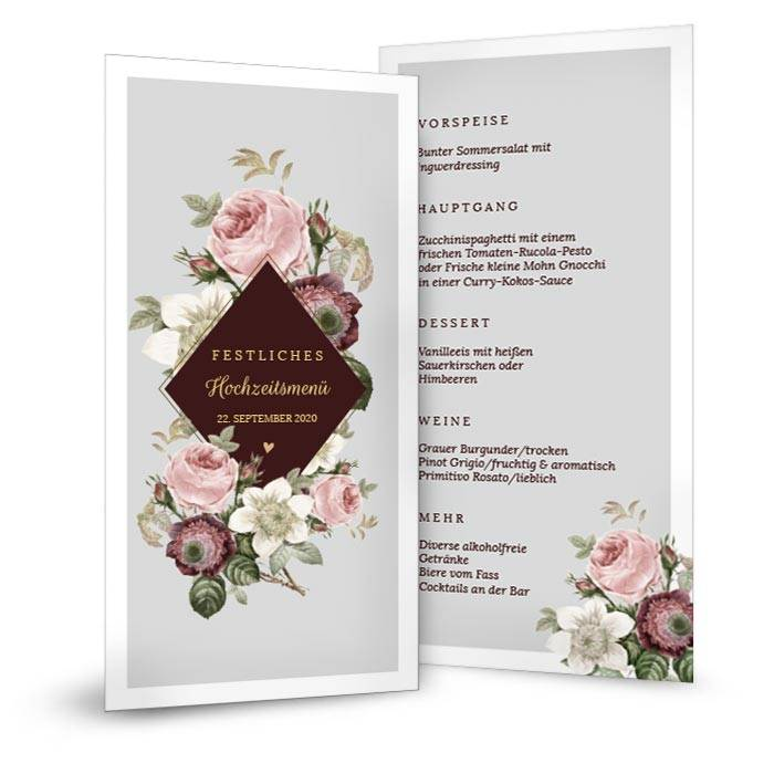 Elegante Menükarte zur Hochzeit mit Rosendesign