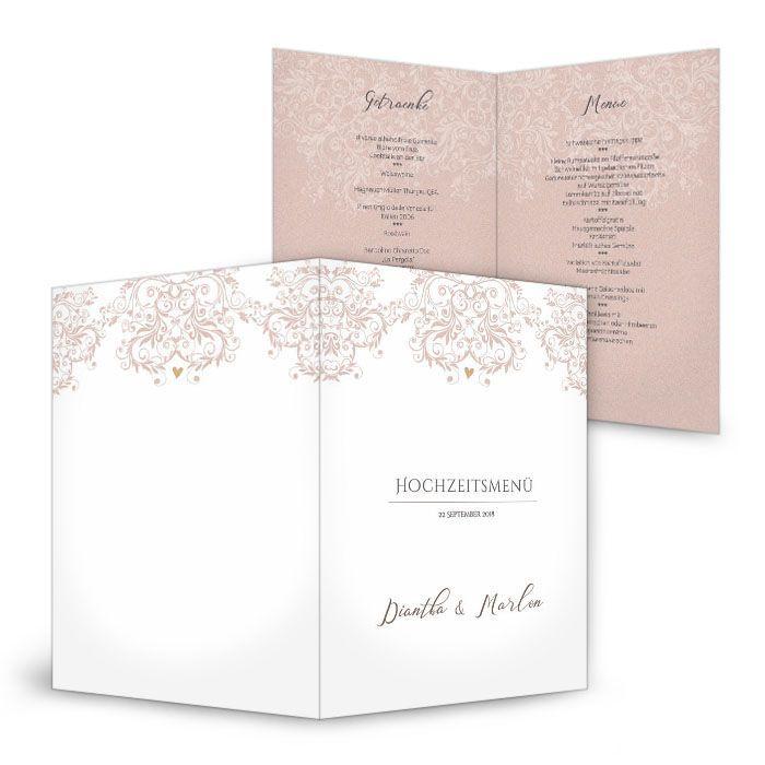 Menükarten zur Hochzeit mit eleganten Ornamenten in Rosa