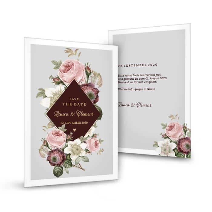 Elegante Save-the-Date Karte mit Rosen