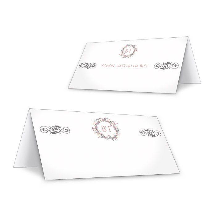 Tischkarte zur Vintage Hochzeit mit Blütenkranz in Rosa