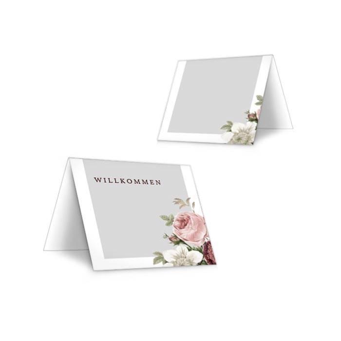 Tischkarten zur Hochzeit mit eleganten Rosen zum selbst Beschriften