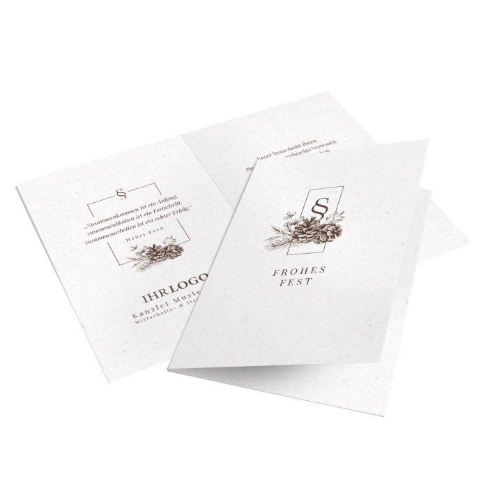 Elegante Weihnachtskarte für Steuerberater mit gezeichneten Tannenzapfen und Zweigen in Braun