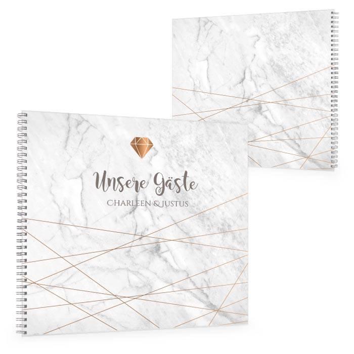 Elegantes Gästebuch mit geometrischen Formen in Marmoroptik