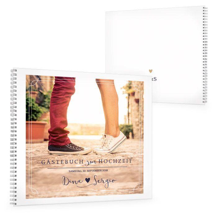 Modernes Gästebuch zur Hochzeit mit großem Foto und Herz