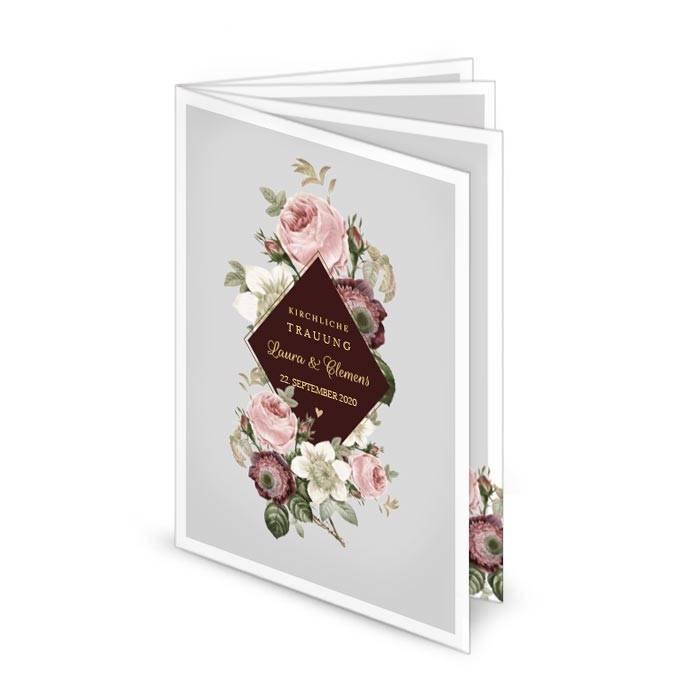 Elegantes Kirchenheft zur Hochzeit mit Rosen