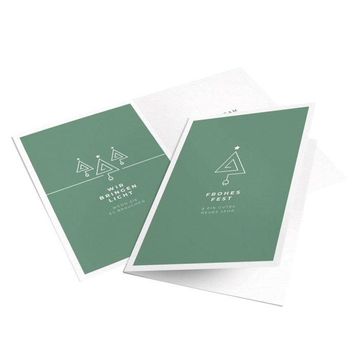 Elektriker Weihnachtskarte mit minimalistischem Tannenbaum in Grün