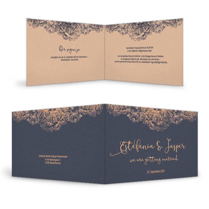 Hochzeitseinladung als Klappkarte in Dunkelblau mit Kupfer