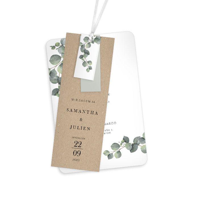 Eukalyptus Hochzeitseinladung mit Anhänger im Greenery Stil