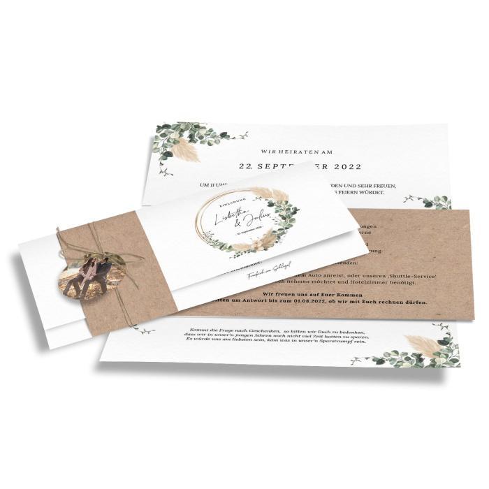 Exklusive Hochzeitseinladung im Boho Style mit Pampasgras und Eukalyptus