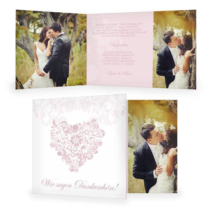 Danksagung zur Hochzeit mit floralem Muster in Rosa und Weiß