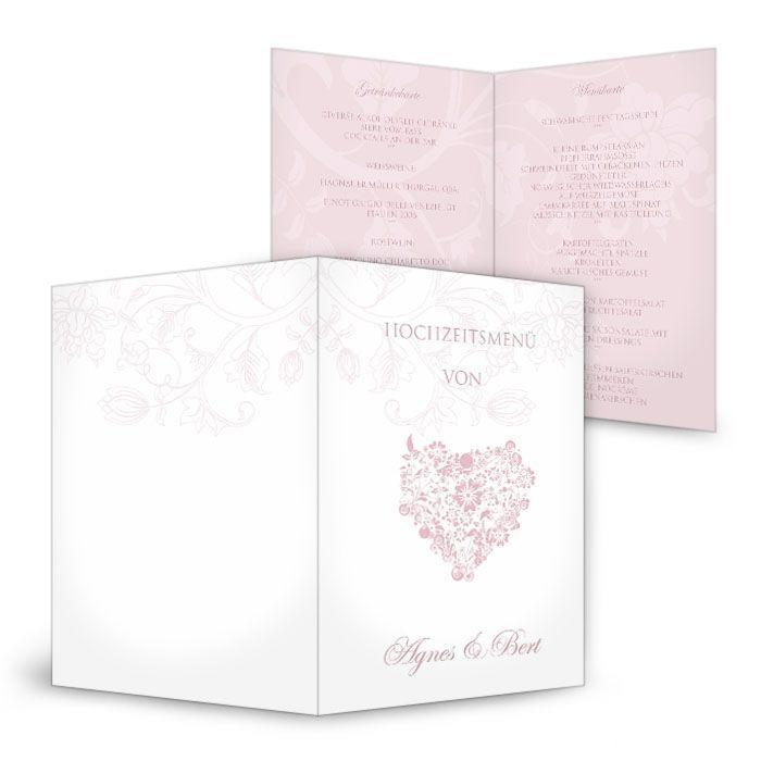 Romantische Menükarte zur Hochzeit in Weiß und Rosa