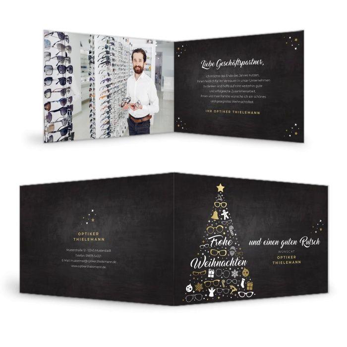 Weihnachtskarte für Optiker mit Tannenbaum aus Brillenmotiven