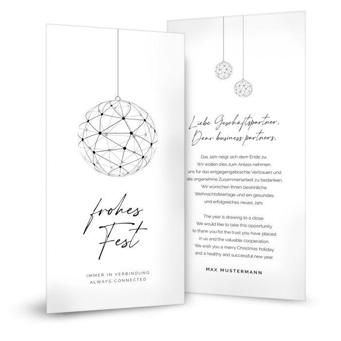 Firmen Weihnachtskarte mit Netzwerk Weihnachtskugel