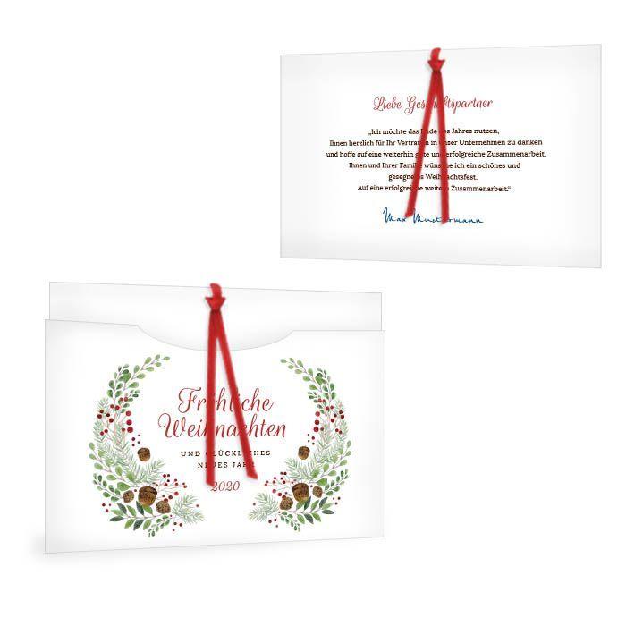 Traditionelle Weihnachtskarte für Firmenkunden mit Blätterkranz