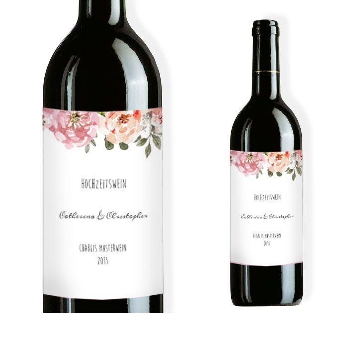 Weinflaschenetikett zur Hochzeit mit Aquarell Blumen Design