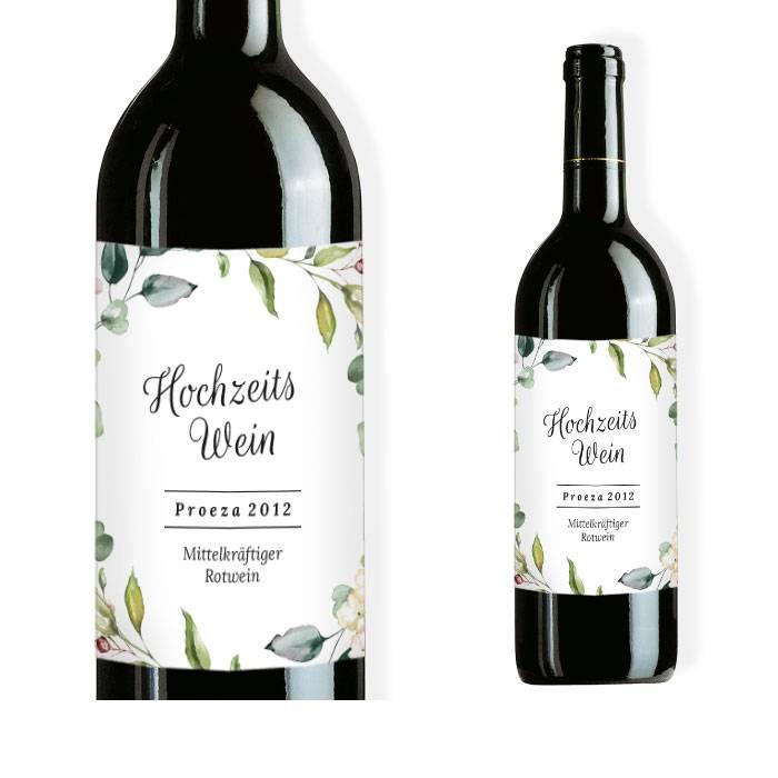 Weinflaschenetikett zur Greenery Hochzeit mit Zweigen
