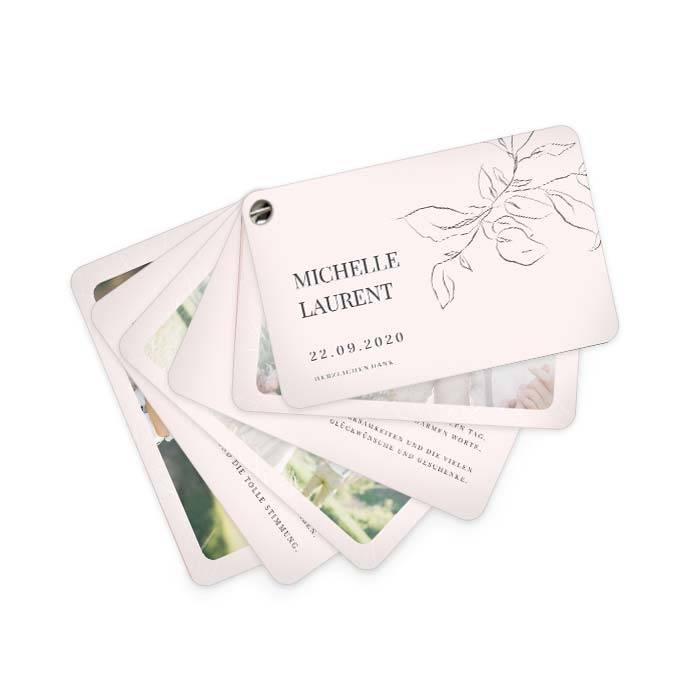 Hochzeitsdanksagung als Kartenfächer im Fineart Stil in Rosa