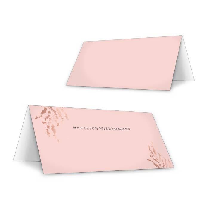 Florale Tischkarten zur Hochzeit in Rosa zum Beschriften