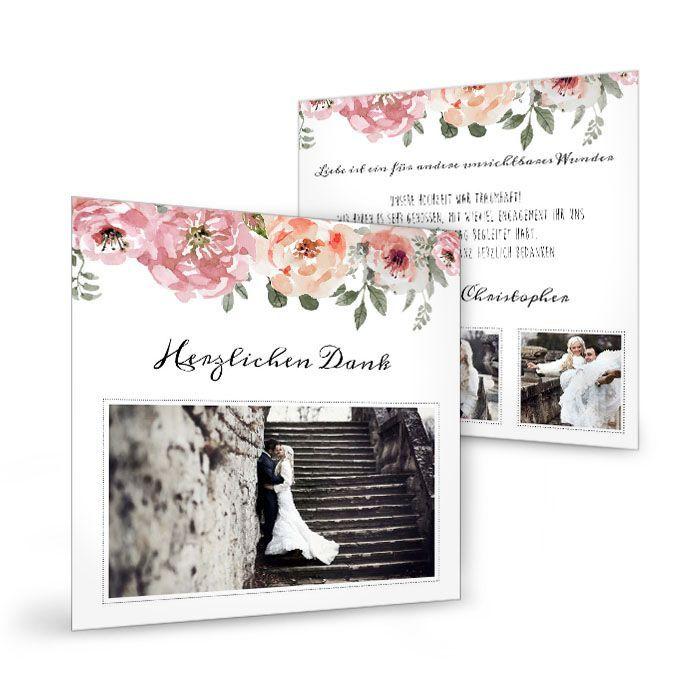 Vintage Danksagung zur Hochzeit mit Aquarellblumen
