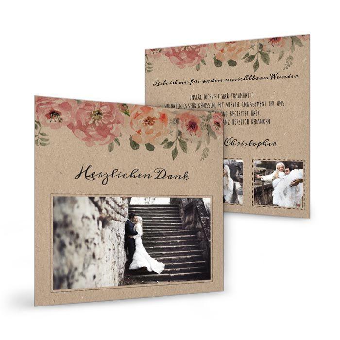 Florale Danksagung zur Hochzeit in Kraftpapieroptik